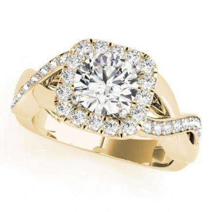 1.40 CTW VS/SI Diamond Solitaire Halo Ring 14K Yellow Gold -