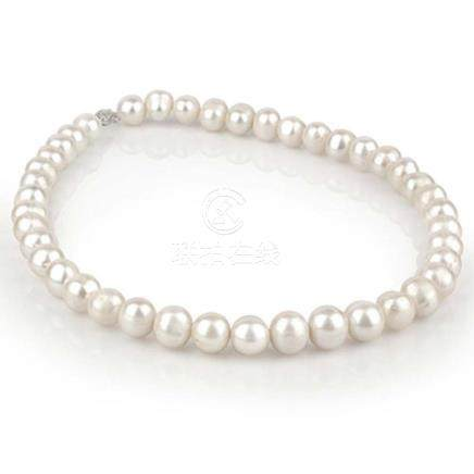 Akoya Pearl (11-12Mm) Necklace 14K White Gold - REF-9Y3K - 1