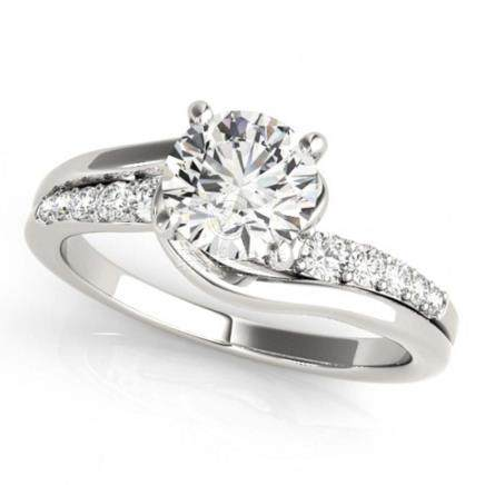 0.81 CTW VS/SI Diamond Bypass Solitaire Ring 14K White Gold