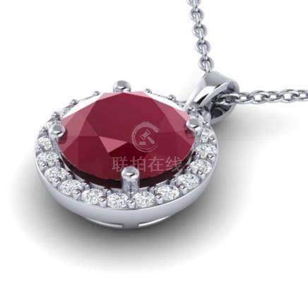 2 CTW Ruby & Halo VS/SI Diamond Necklace Solitaire 18K Gold