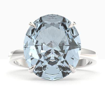 9 CTW Sky Blue Topaz Solitaire Engagement Ring 18K Gold - RE