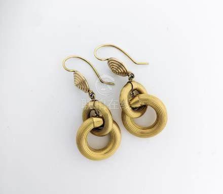 Ribbed Hoops Gold Dangling Earrings