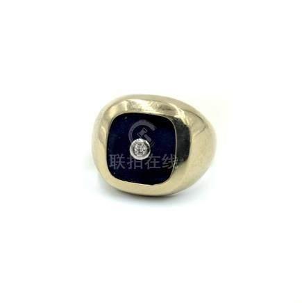 Lapis and Diamond Bombe Ring