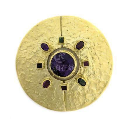 Ed Wiener Textured Gold Disc Brooch