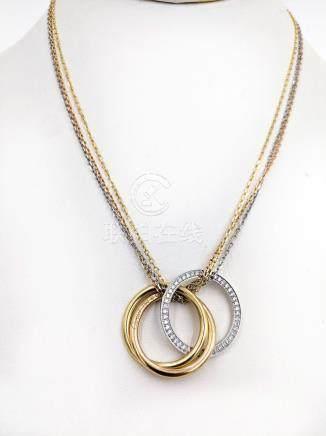Cartier Trinity Diamond Tri-Gold Pendant Necklace