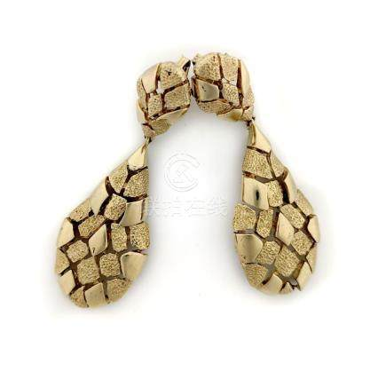 Textured Gold Drop Earrings