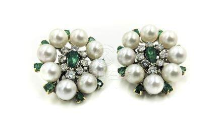 Emerald Pearl Diamond Earrings