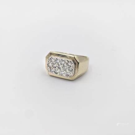 Octagonal Gold Pave Diamond Ring