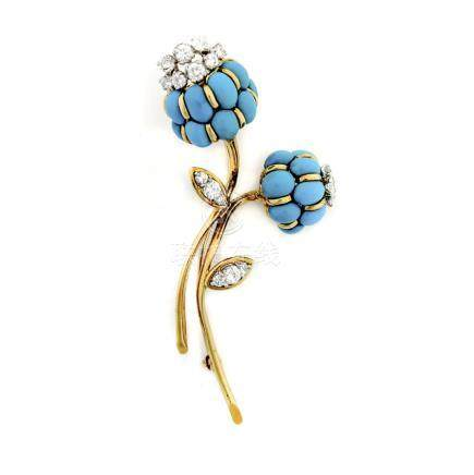 Turquoise and Diamond Flower Brooch