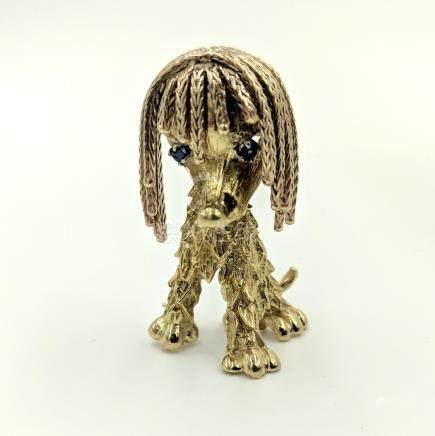 Gold Shaggy Dog Brooch