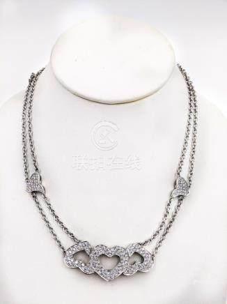 Italian White Gold Diamond Heart Necklace
