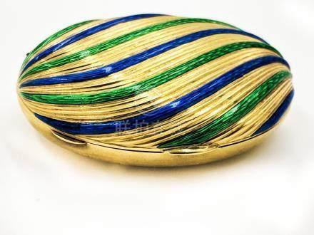 Enamel Gold Pill Box