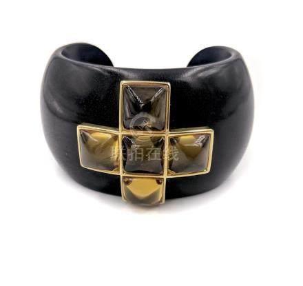 Wood and Citrine Cuff Bracelet