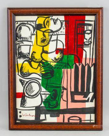 French-Swiss Abstract Acrylic Signed Le Corbusier