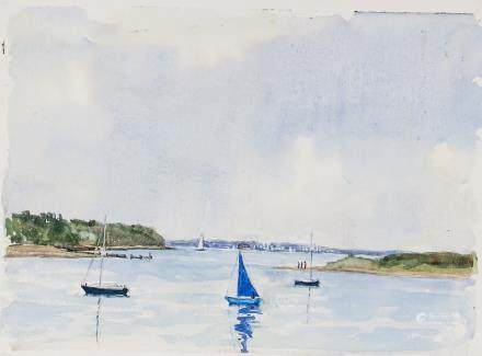 Watercolor Harbor Signed Winifred Nicholson