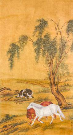 Lang Shining 1688-1766 Chinese Watercolor Scroll