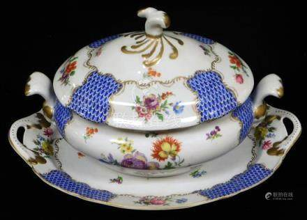 French porcelain tureen and liner by Paris Royal, 20th C., H