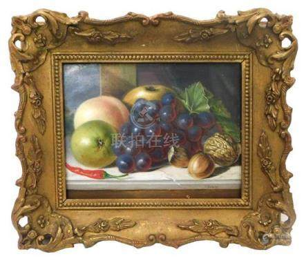"""American School (20th Century), """"Still Life with Grapes, Cay"""