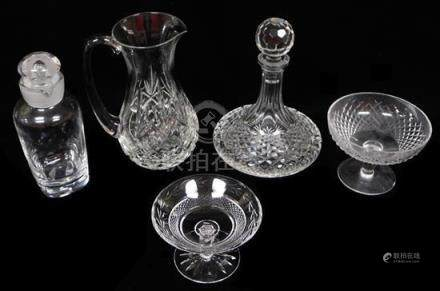 GLASS: Five glass vessels, including Waterford and Orrefors: