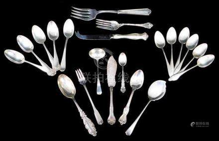 SILVER: Twenty-one pieces of sterling flatware and servingwa