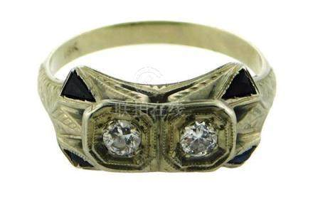 JEWELRY: Art Deco 18K white gold ring with two old cut Europ