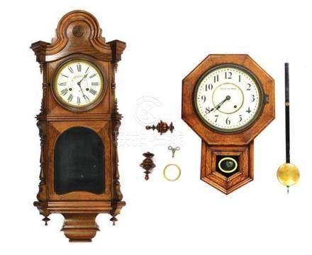 CLOCKS: Two wall clocks, the first Victorian, walnut case, t