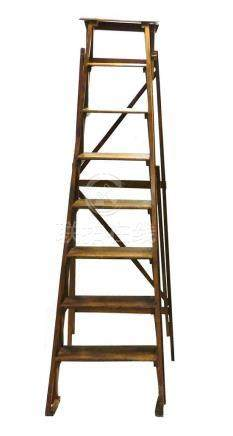 """Early wooden step ladder, eight steps, as is, 69"""" h."""