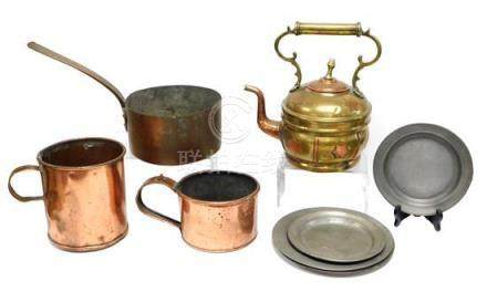 Metalware including copper and pewter, nine pieces: brass an