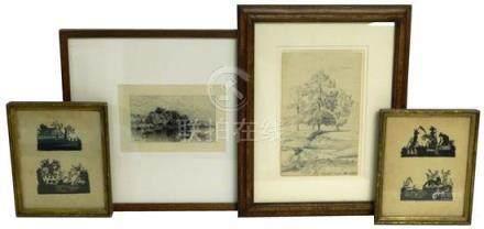 Four 19th C. artworks framed under glass including etching b