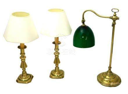 LIGHTING: Brass lighting, three pieces: Leviton desk lamp wi