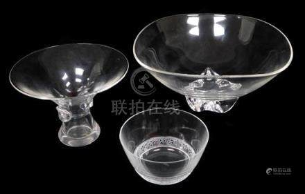 GLASS: Four signed glass vessels, first a small Lalique bowl