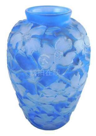 "Blue Phoenix ""Dogwood"" glass vase, c. 1930's, raised and mol"
