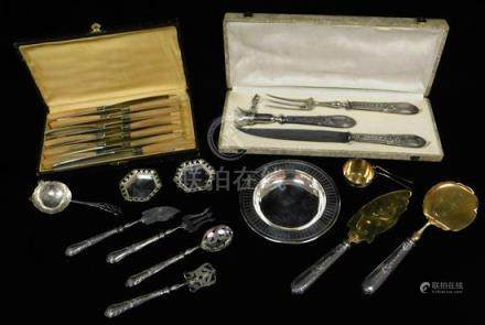 SILVER: Servingware and accessories, twenty-six pieces: two