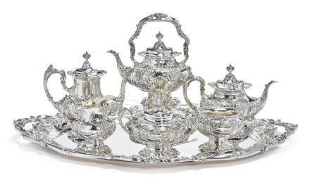 AN AMERICAN SILVER SIX-PIECE FRANCIS I PATTERN TEA AND COFFE