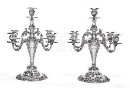 A PAIR OF AMERICAN SILVER FIVE-LIGHT CANDELABRA, REED & BART