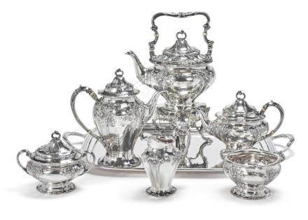 AN AMERICAN SILVER SIX-PIECE TEA AND COFFEE SET, GORHAM MFG.