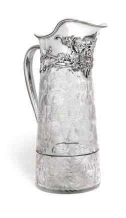 AN AMERICAN SILVER-MOUNTED CUT-GLASS EWER, TIFFANY & CO., NE
