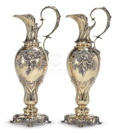 A PAIR OF LARGE AMERICAN SILVER-GILT EWERS, TIFFANY & CO., N