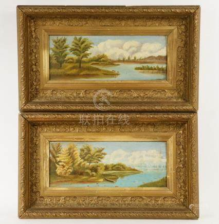 PAIR OF NAIVE PAINTINGS, AMERICAN SCHOOL