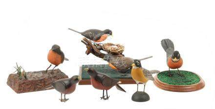 (6) CARVED ROBIN DECOYS