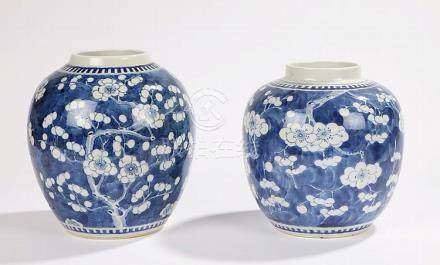 Two 19th Century Chinese blue and white ginger jars, with pr