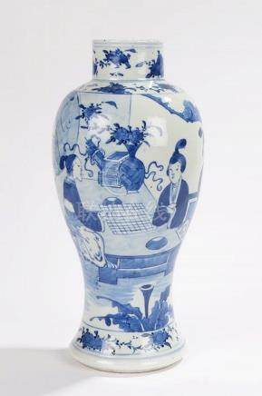"19th Century Chinese blue and white ""Long Eliza"" vase, depic"