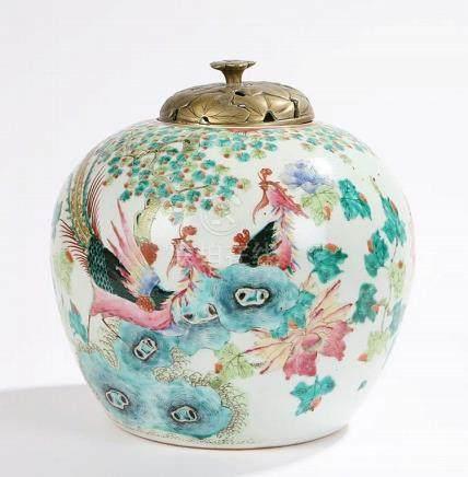 18th Century Chinese vase, of ovoid form with enamel decorat