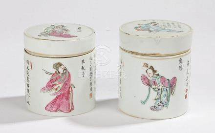 Two Chinese porcelain pots and covers, decorated with figure