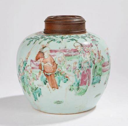 19th Century Chinese porcelain storage jar and cover, the as