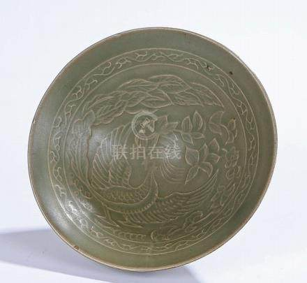 Chinese celadon bowl, with bird and foliate decoration, 15cm