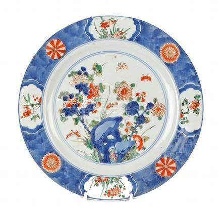 Kangxi Chinese plate, the plate in Imari palette of flowers