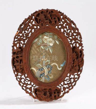 Late 19th Century Chinese Canton carved frame, carved with C