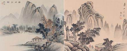 Pair of Chinese watercolours on silk depicting mountainous l