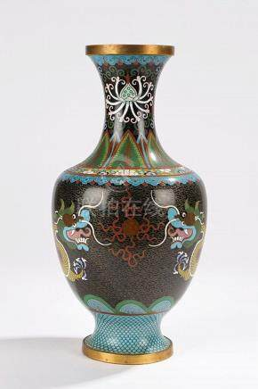 Chinese cloisonne vase, decorated with leaf and flower desig